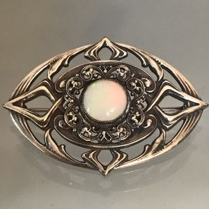 Vintage White Opal and Silver Brooch